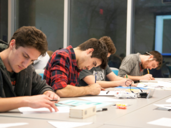 Students writting